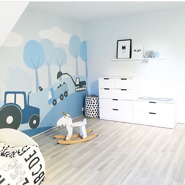 I adore this room by @nerbyterrasse32. My wall mural design country life blue is available via @photowall_sweden. Worldwide shipping at Photowall.com. Link in bio. #snedesign #kinderzimmer #chambreenfant #chambrebebe #kinderzimmerdeko #nursery #kidsroom #wallmural #wallpaper #barnrum #barnerom #børneværelse #scandi #norwegiandesign #scandinaviandesign #scandinavianstyle #tapet