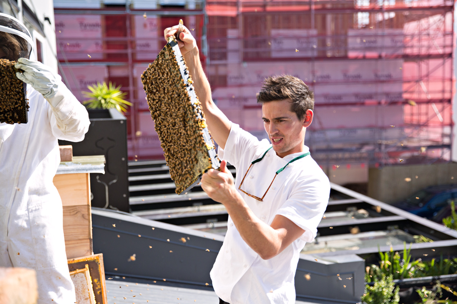 Buzzed Up: Owner and head chef Tom Hishon keeps bee hives on the roof to create honey for the restaurant and more bees round his local. Photo credit: Lottie Hedley