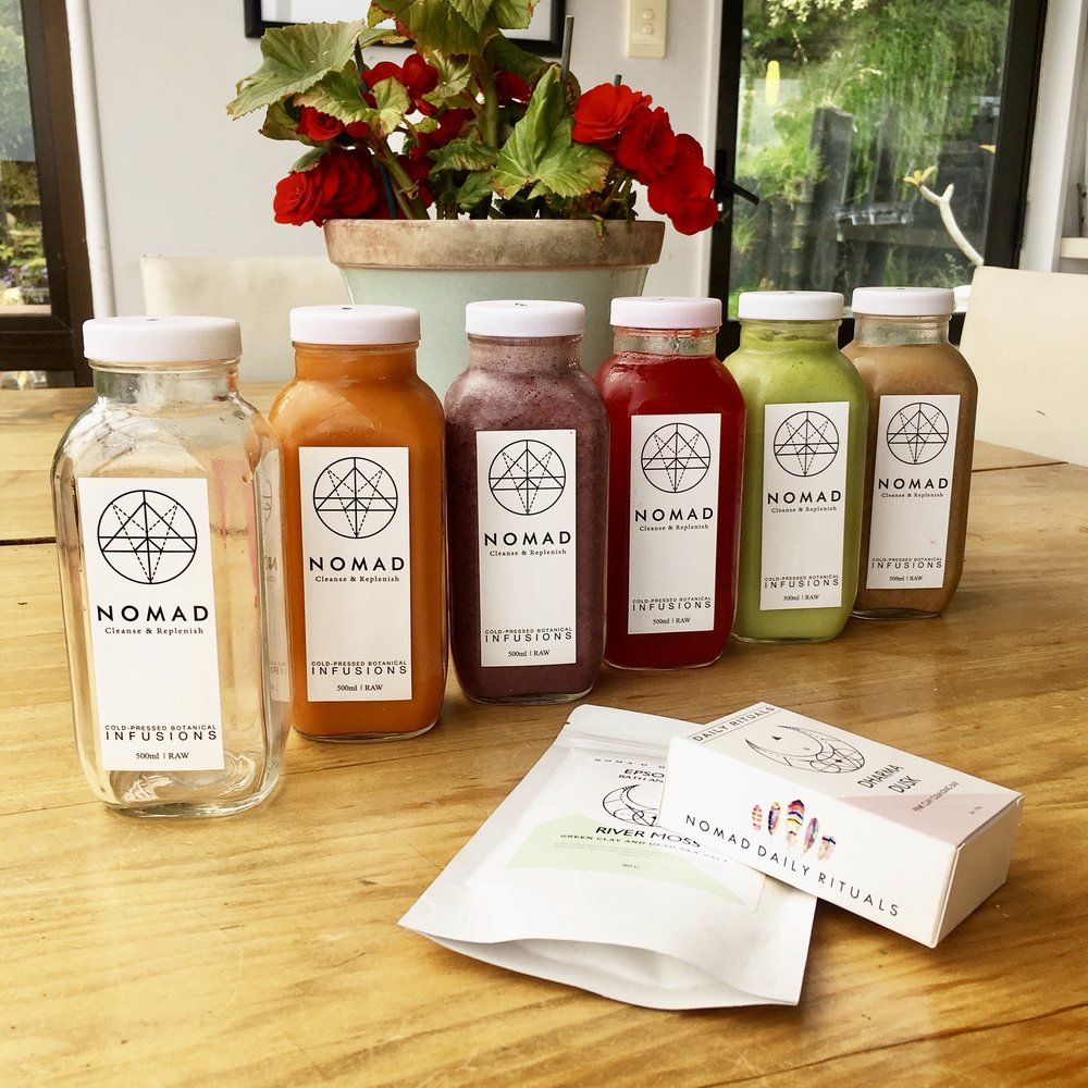 A colourful selection of Raw, Cold-Pressed juices from Nomad Nutrition