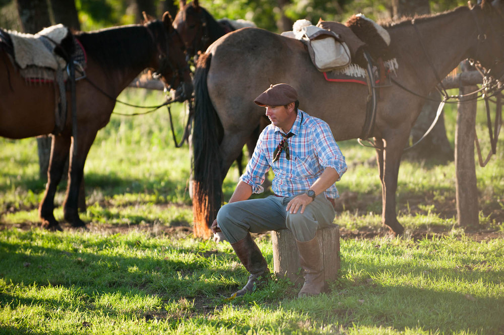 Gaucho Relaxing with His Horses
