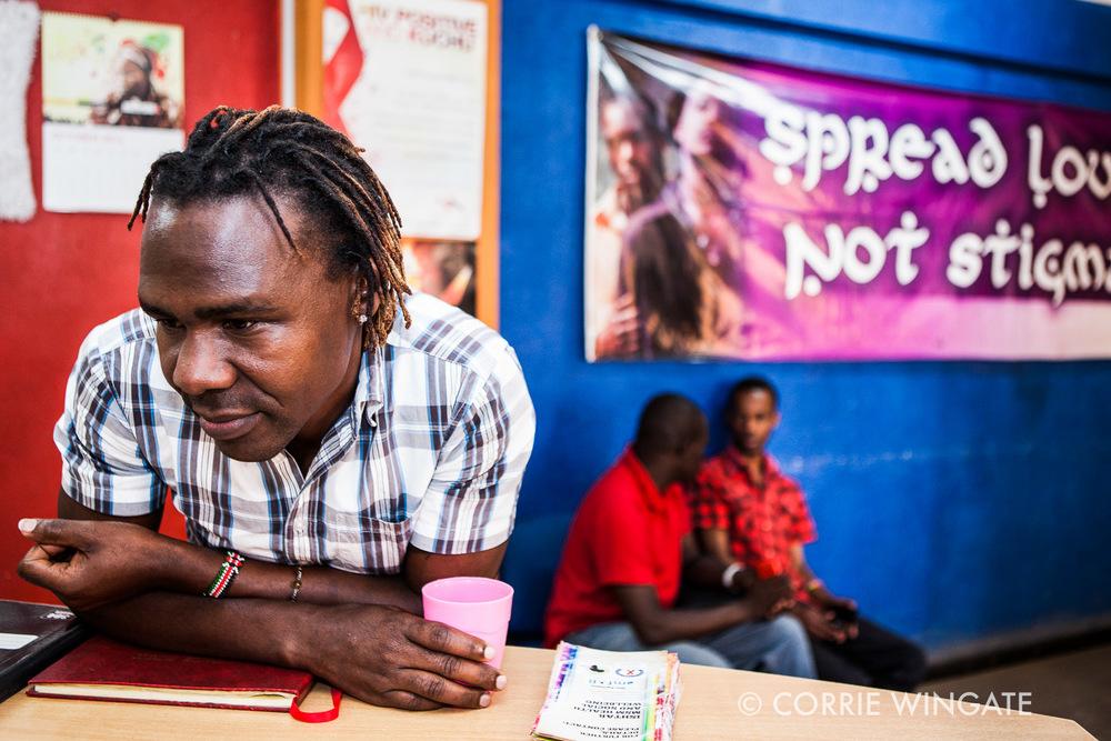 Lenny Otieno, (inteviewed) benificiary, at the reception ISHTAR Wellness center, Nairobi, Kenya