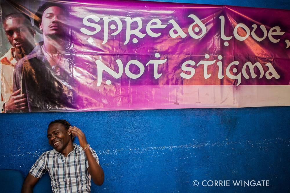 Lenny Otieno, (inteviewed) benificiary,sitting in the waiting room, ISHTAR Wellness center, Nairobi, Kenya