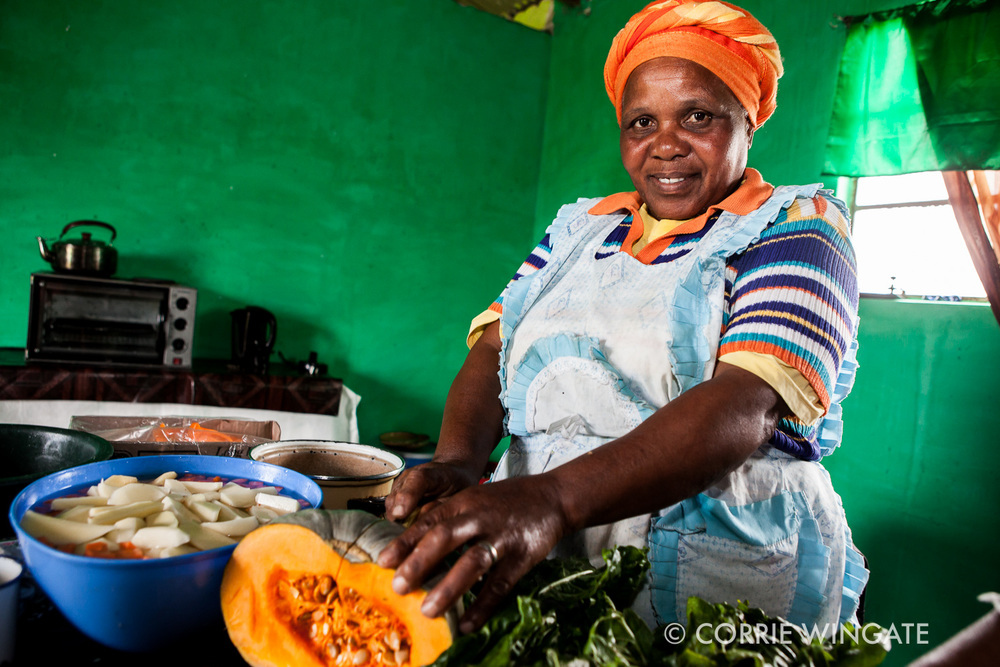 Cooks att he Sisonke Sizayama center cook nutitious food every day for the elderly, often with vegetables grown at the community garden. Sisonke, South Africa