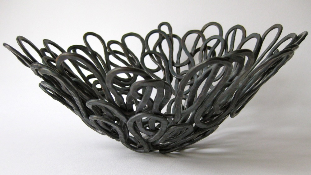 'Sculptural Form Woven Basket' 2013, Hand Forged Oxidised Copper