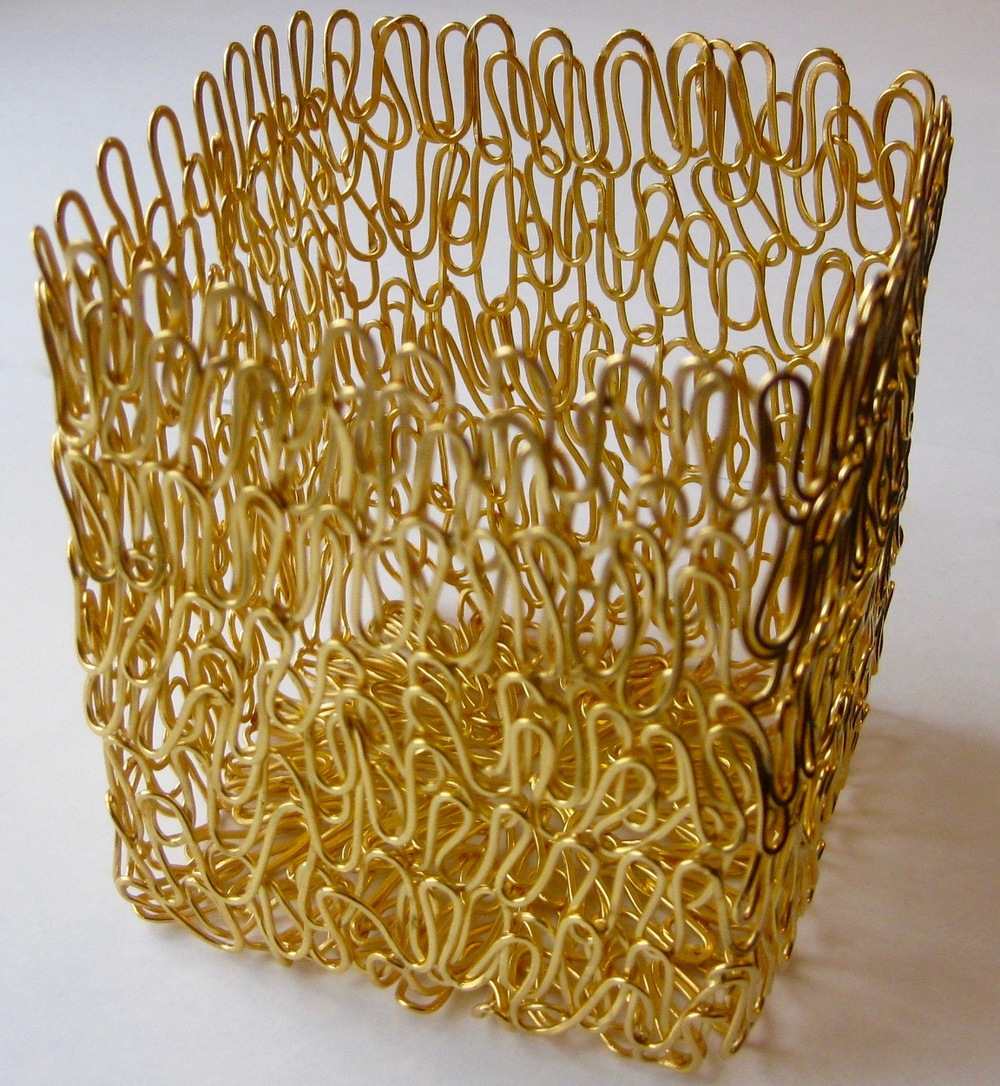 'Vibrant' Woven Square Basket, 2015, Gold Plated Sterling Silver