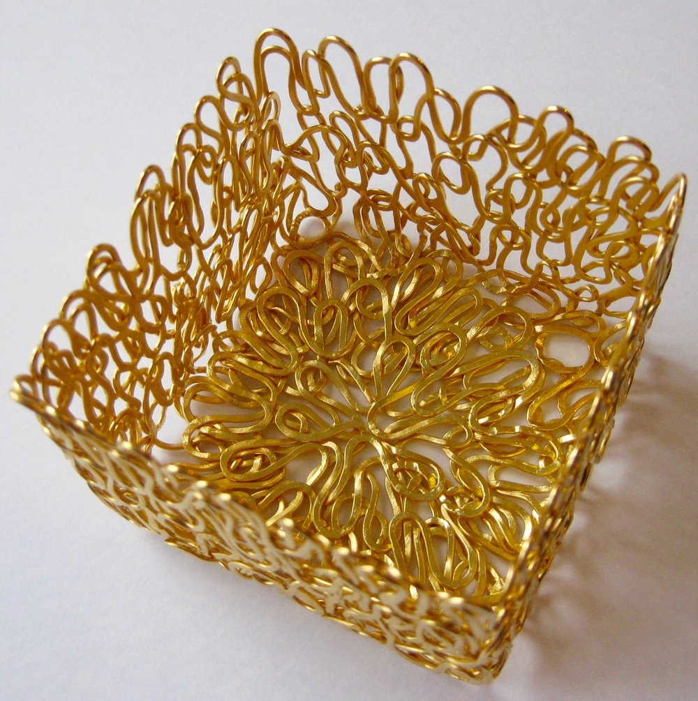 'Vibrant' S/S Woven Square Basket, 2015, Gold Plated Sterling Silver