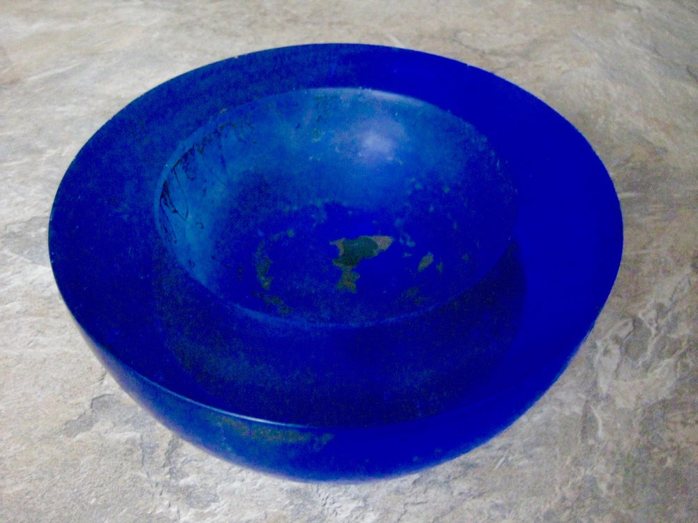 'Cobalt Blue Bowl' 2016, Core Kiln Cast Glass and Alloy of different Metals