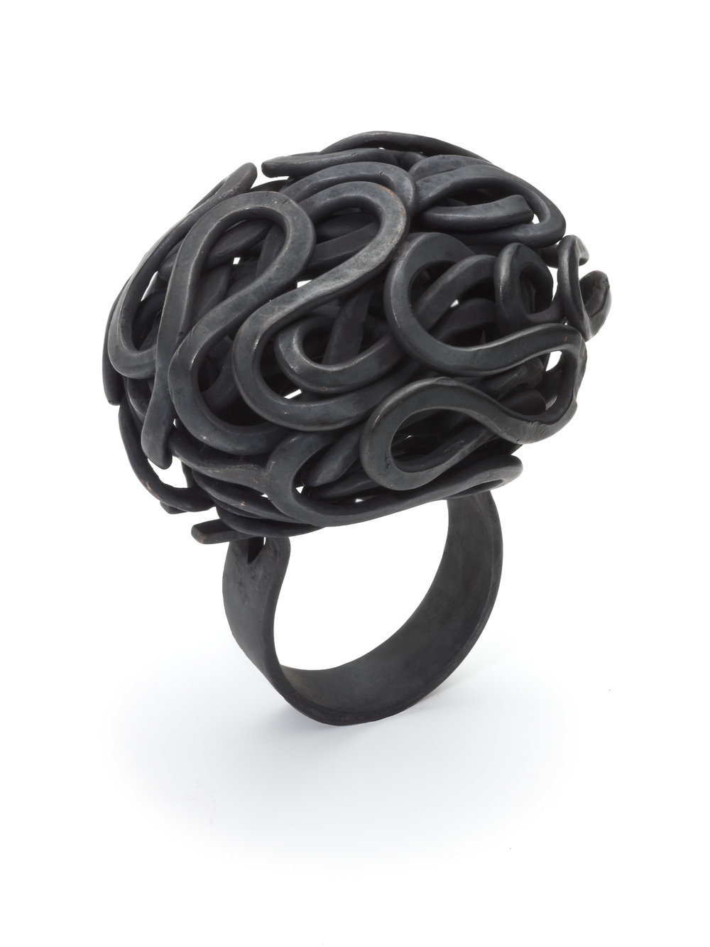 'Weaving Contemporary Art Jewellery 2013, Sculptural Form Ring, Hand Forged Oxidised Copper    Also in Sterling Silver
