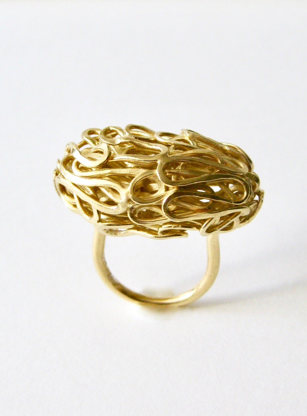 'Sculptural Form Woven Ring' 2018, Gold plated Sterling Silver