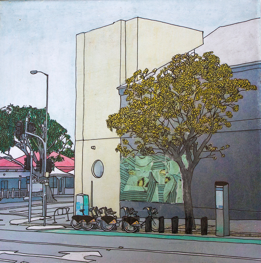 'Yellow trees and bikes in Newfarm' photograph, ink, watercolour pencil, collage, varnish 2016
