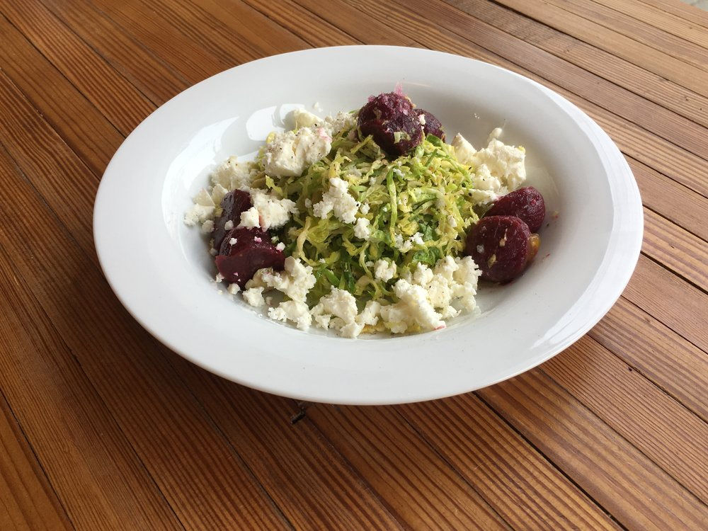 Shaved Brussels Sprouts with Roasted Beets and Feta