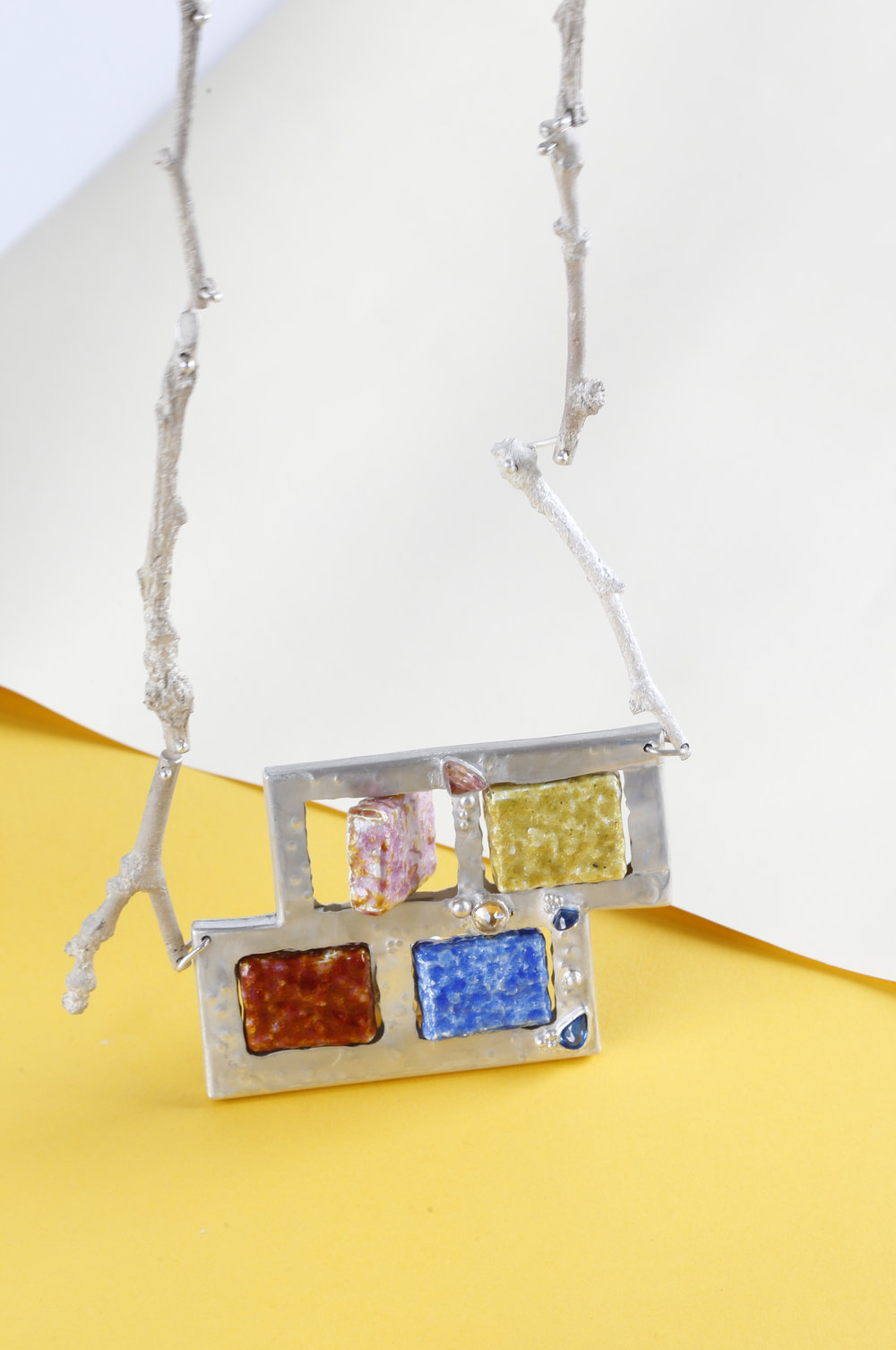 The Brick necklace, 2016; silver, vitreous enamel, gemstones.