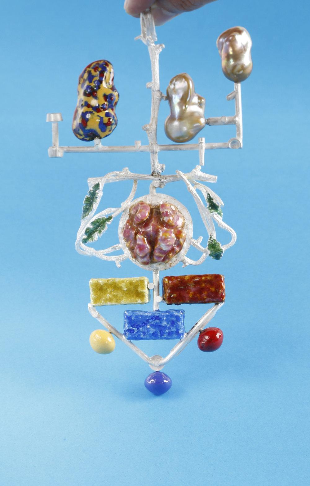 The Brain pendant, 2016; fine silver, copper, vitreous enamel, two baroque freshwater pearls.