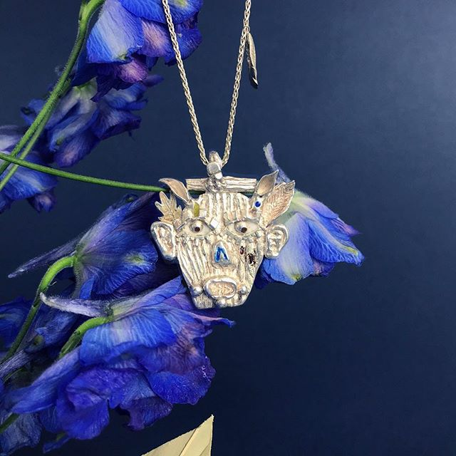 The Sylvaleo pendant surrounded by beautiful flowers. Hand crafted in sterling silver with vitreous enamel. . . #forestspirits #jewelrydesign