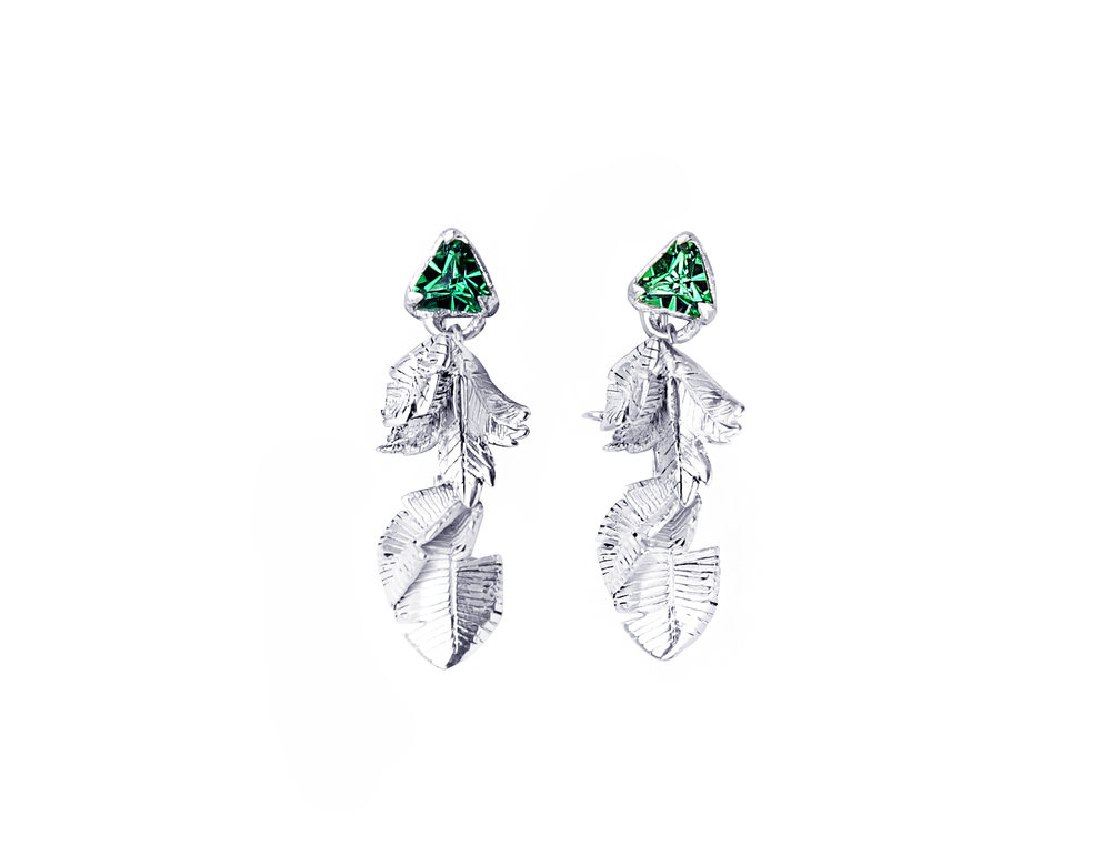 leaves and stone silver earrings