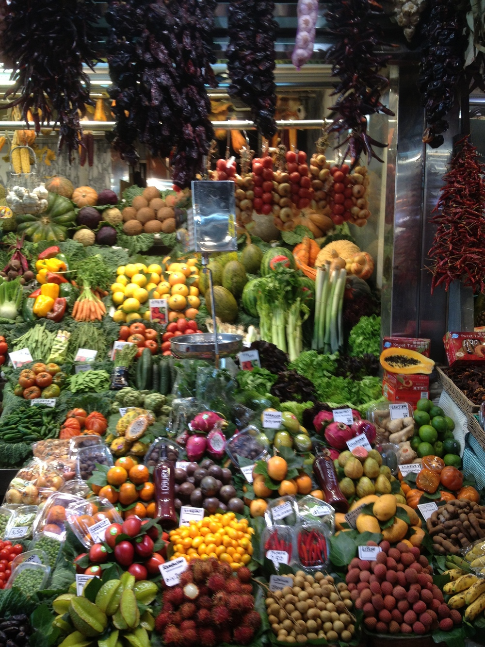 The famous Boqueria Market in Barcelona -  a food lover's dream come true!