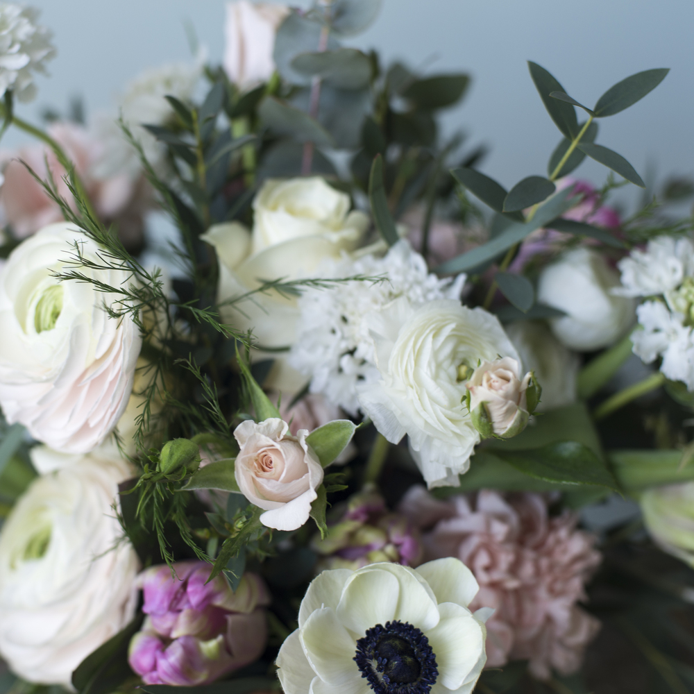 PANDA ANEMONES, HANOI PINK RANUNCULUS, PARROT TULIPS AND WHITE SCABIOUS