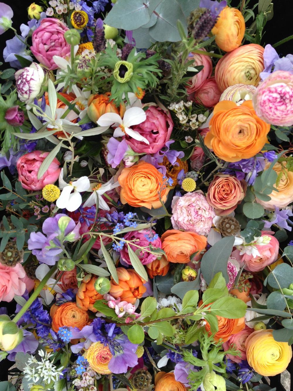 Picotte Ranunculus, Crespida,Eucalyptus,Anemones, Sweet Peas, Lavender, Stellata Ping Pong