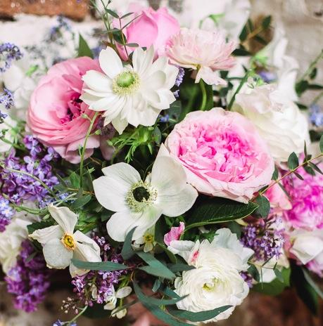 White Anemones, Pheasent Eye, Garden roses & Eucalyptus