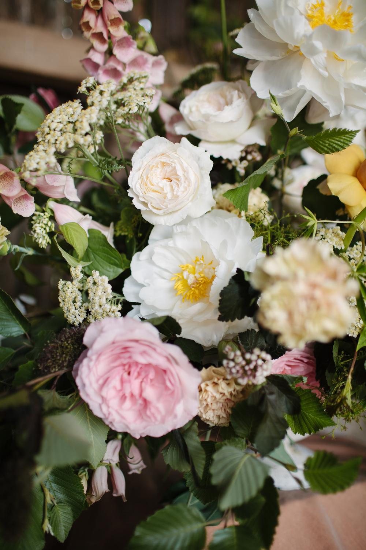 Kiera David Austin Roses, foxgloves, peonies, achilea