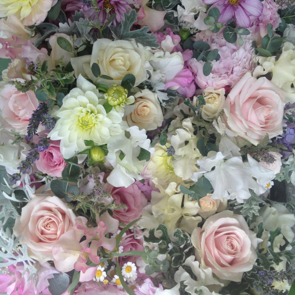 White Dahlias, Senecio, Sweet Peas, Roses