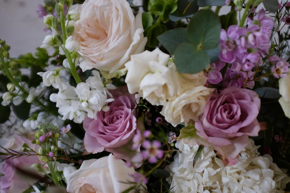 O' Hara Garden Rose, Waxflowers, Eucalyptus, Hydrangea