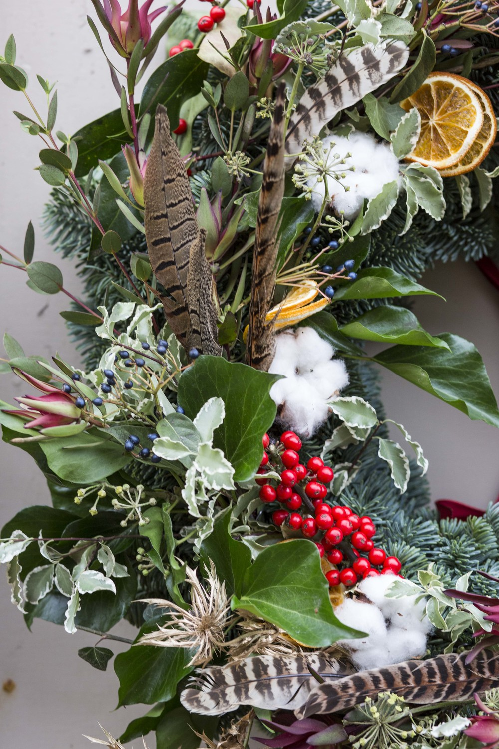 Cotton, Ilex Berries, Pheasent feathers, Thistles, Ivy, Eucalyptus