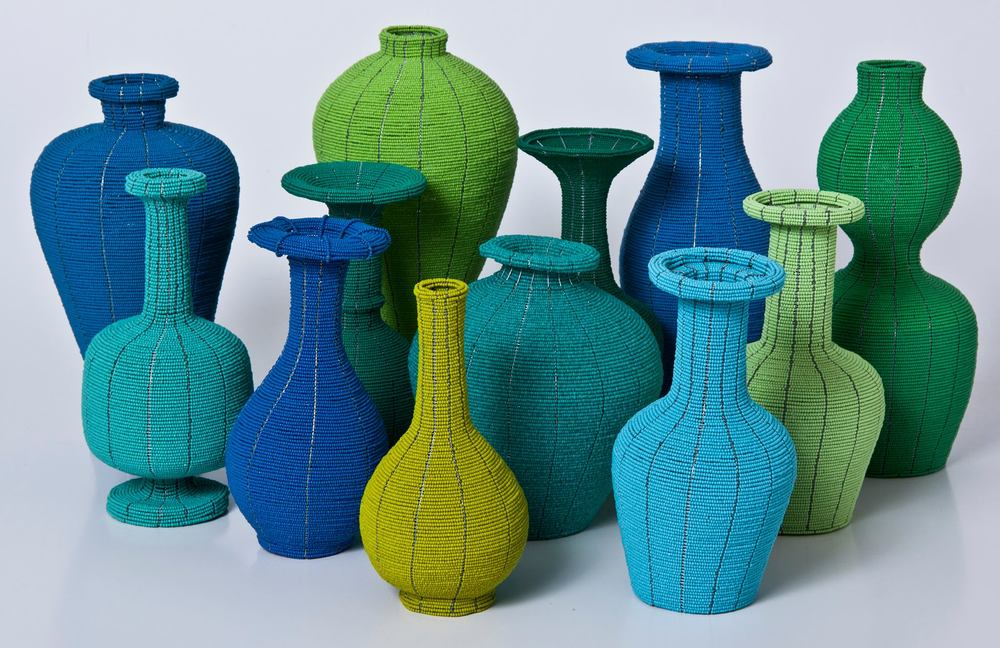 Beaded Chinese Vases    These 'vases' are hand-made from tiny, Czechoslovakian glass beads in an assortment of vivid colours and Chinese vase forms.    R800 each