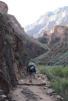 View of Grand Canyon and hiker from back