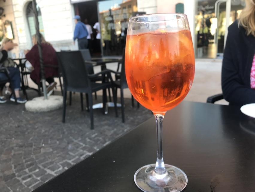 A delicious Aperol Spritz, a perfect segue to the evening
