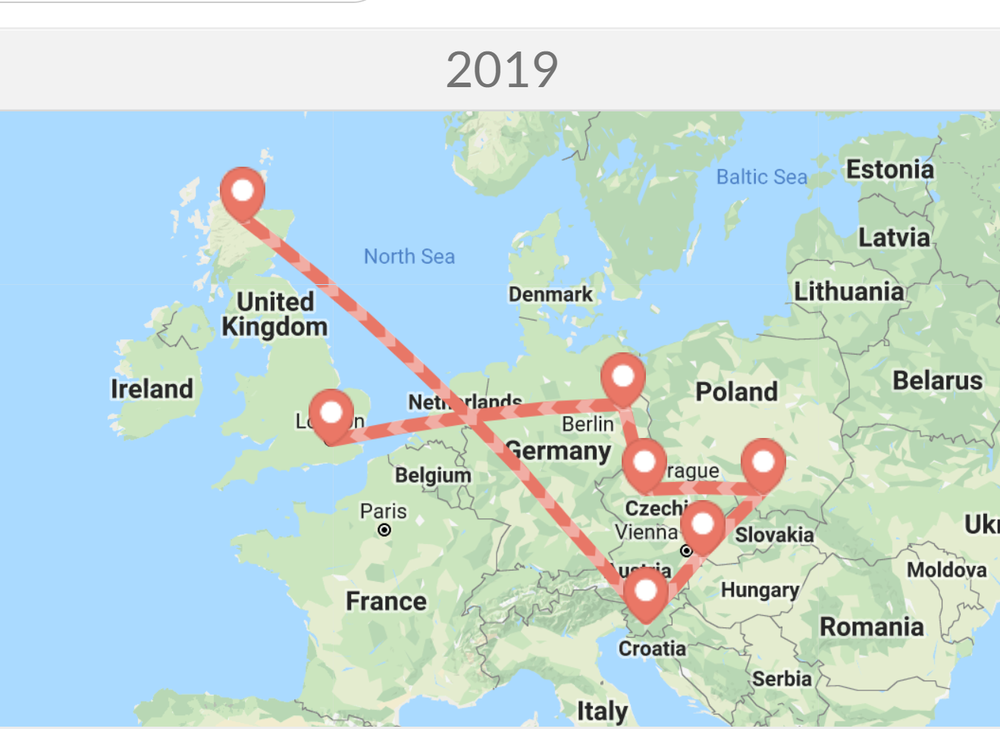 Our actual 2019 European continent map. We knew we would leave Scotland to start with friends in Slovenia and end up with friends in Berlin. The rest was pure logic