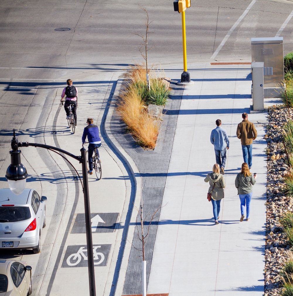 Our landscape architecture team collaborated with the City of Fargo's engineering department from conceptual design through construction to develop Fargo's first complete street including the city's first elevated, protected bike lane.