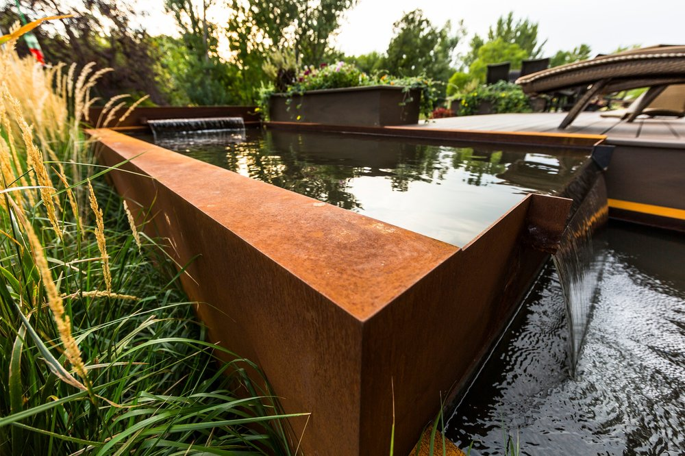 This custom water feature was built into the deck.