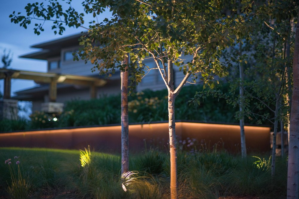 LED strip lighting was used under the lip of the corten retaining wall, LED uplights were used on the trees in the planting beds, LED ring lights in the water feature.