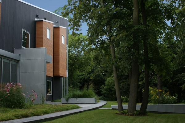 Native plantings and existing trees were utilized in this project