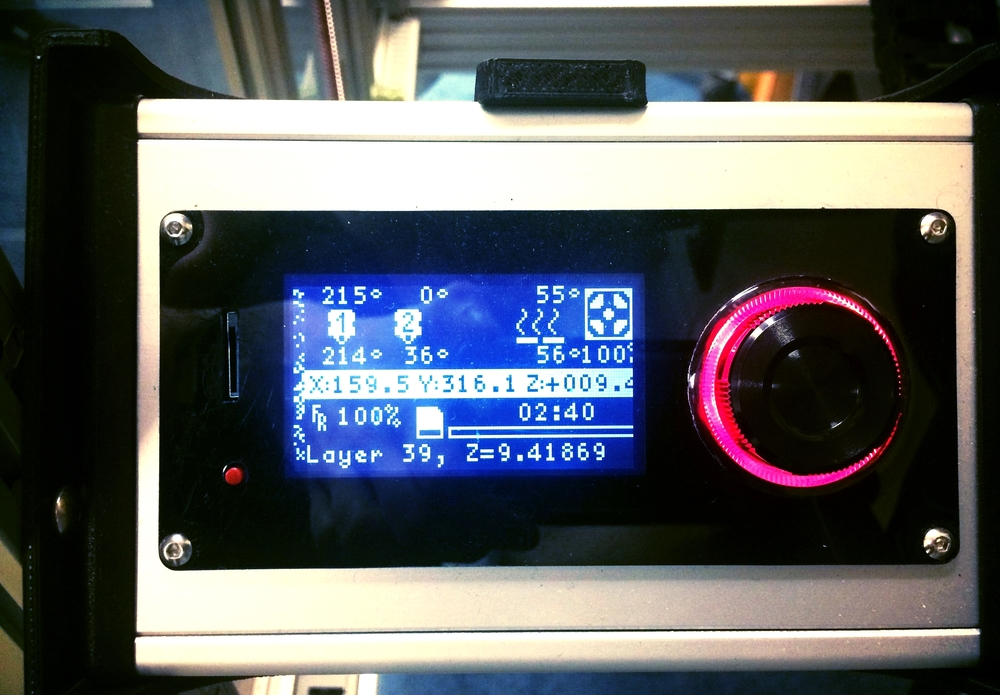Viki LCD control screen: a cluttered interface, small text, & limited graphics (see the distorted characters on the left side).