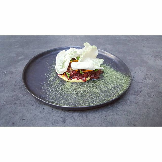 Ayrshire beef tartare 18.06.17 | pickled beetroot, puffed rice, szechuan pepper #oekse #popup #fitzrovia #london thank you @hgwalter