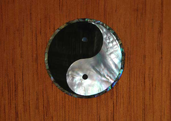Black and white mother of pearl and abalone rosette in a Spanish cedar door