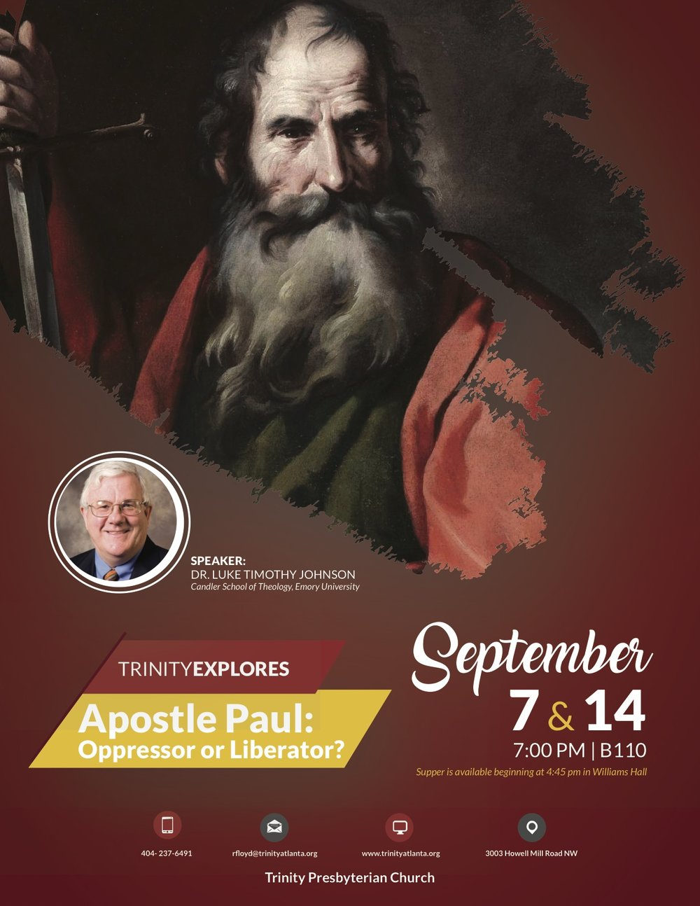 Trinity Explores Apostle Paul.LukeTimothy Johnson Sep2017.jpg