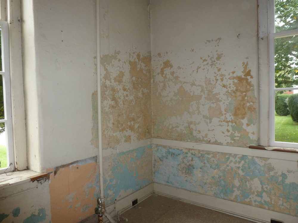 The work began by stripping off the old paneling to reveal the plaster walls.