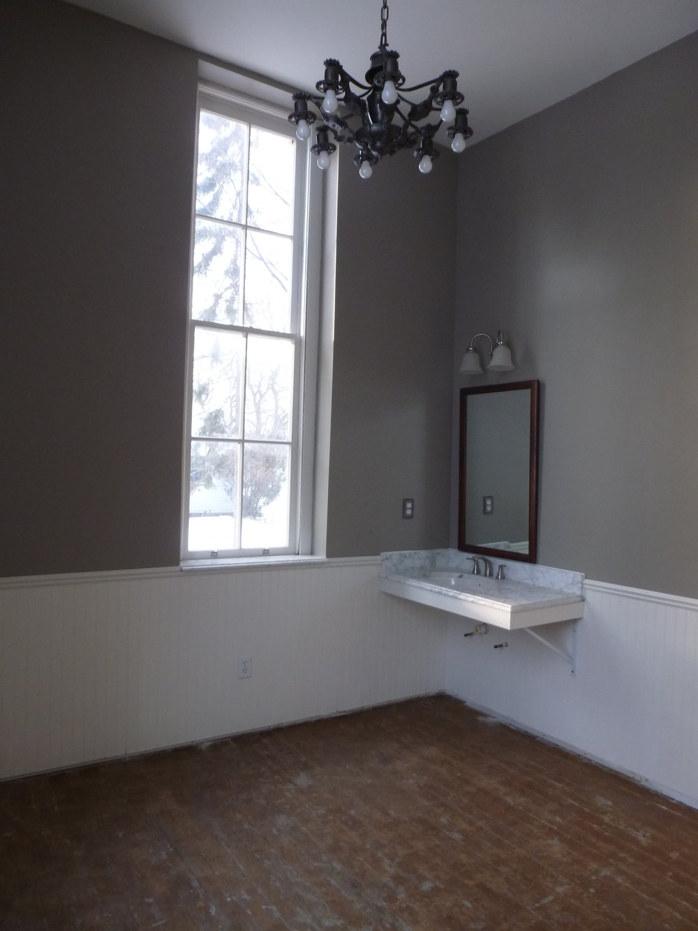 Wainscoting installedand sink mounted