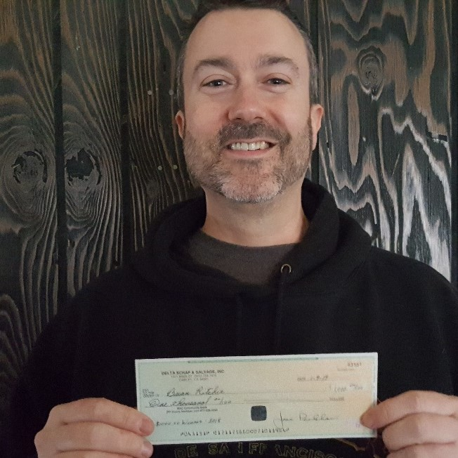 BRIAN 2018 $1,000 WINNER DELTA SCRAP & SALVAGE, INC. DONATED $500.00 TO THE NATURE CONSERVANCY