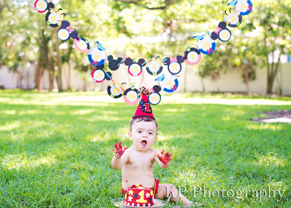South Florida First Birthday Cake Smash Portrait