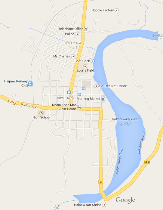 Map of Hsipaw, Myanmar