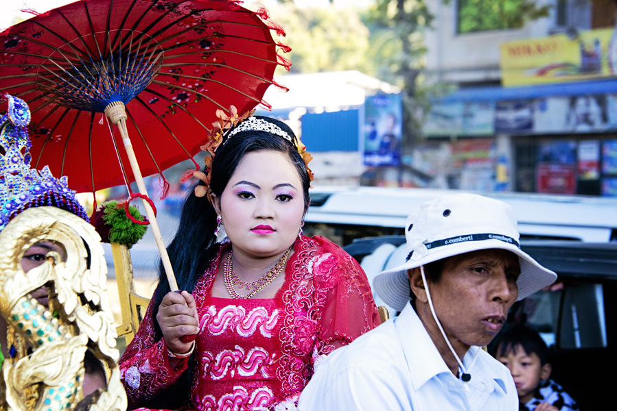 Burmese woman in Buddhist Shinbyu Procession