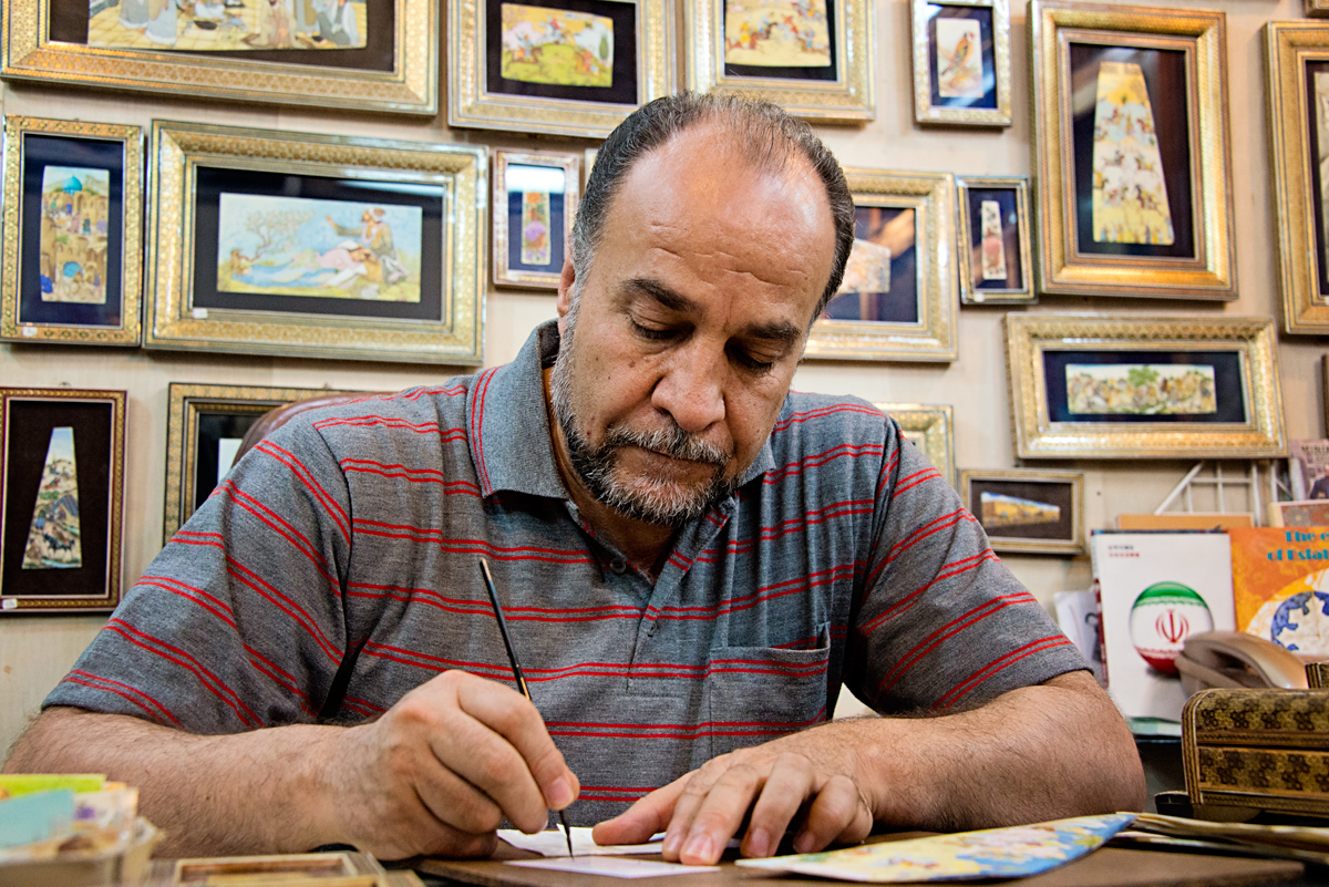 Iranian Miniature Artist Creating