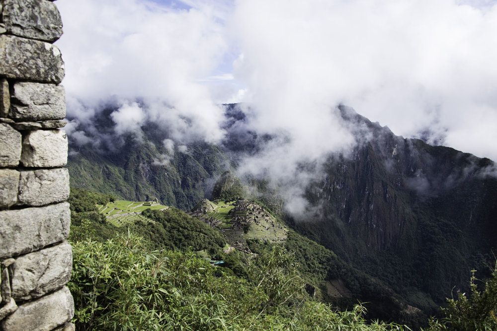 Distant View of Machu Picchu City in the Clouds