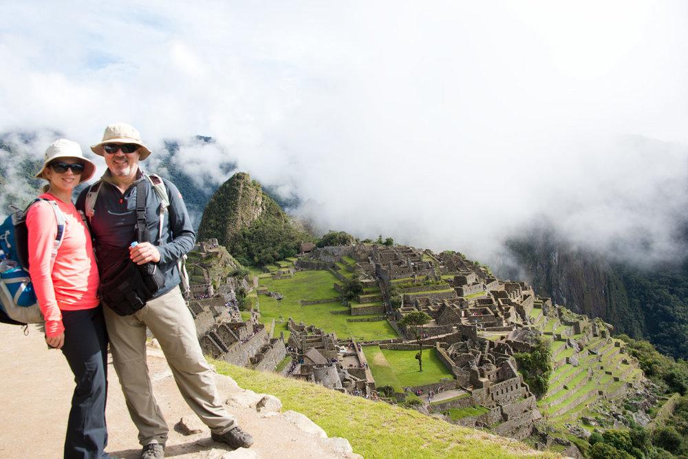 Hikers Posing at Machu Picchu
