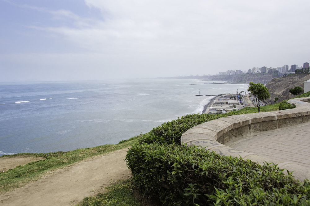 Ocean View from the Sidewalk in Miraflores Lima Peru