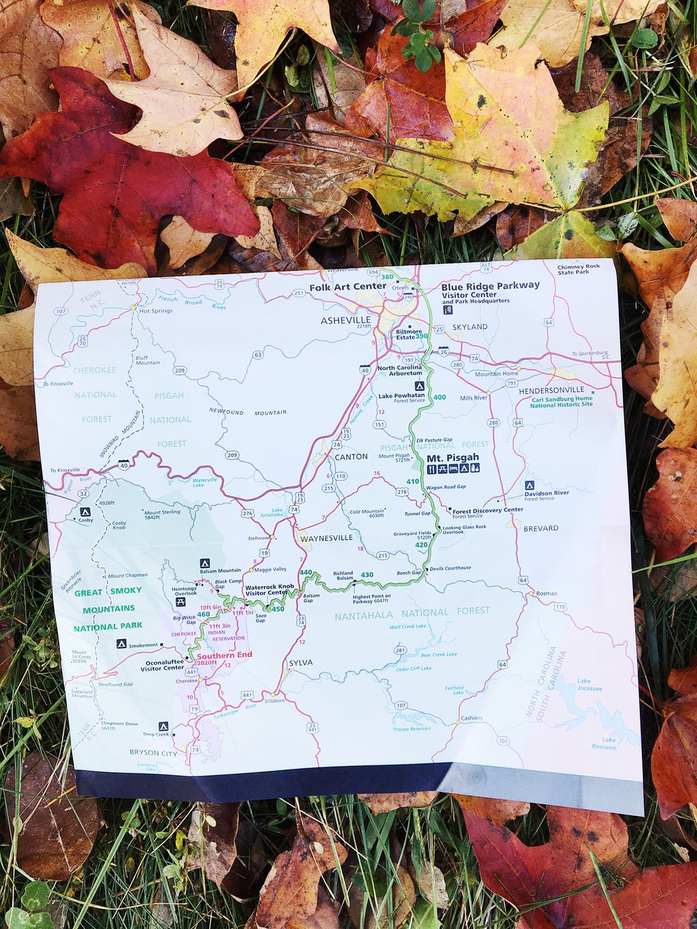 Map of the Blue Ridge Parkway Near Asheville, NC